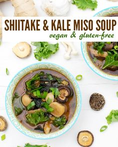 Shiitake & Kale Miso Soup [vegan] [gluten free] Packed with mushrooms, this miso soup is deliciously hearty.  Miso, shiitake and nori contains a lot of nutrients which make this recipe makes a super healthy and nutritious soup.  It is a great immune system booster for lunch, dinner and even breakfast!