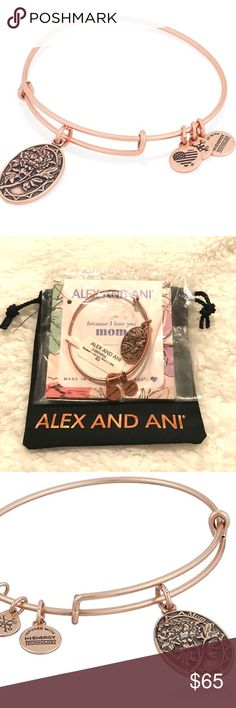 """Alex and Ani """"Because I Love You Mom"""" rose gold BRAND NEW/IN PLASTIC/COMES WITH ALEX AND ANI BLACK DRAWSTRING BAG. A Mother's love and support is extraordinarily strong without limitation. The peony, the queen of the garden, symbolically encompasses the maternal traits of healing, love's blessing, and bravery. Embrace the heartfelt connection, strength, and respect associated with the Mom Charm as a token of admiration. Because I Love You Mom Bracelet represents Generosity, Heroism, and…"""