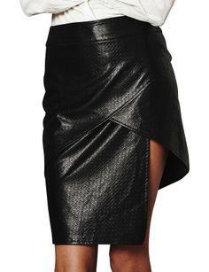 David Jones staple the label - Textured Pu Layer Skirt
