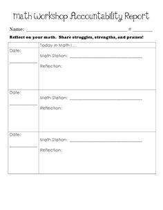 Here's an accountability report for students to complete each day on their progress/performance during math workshop.