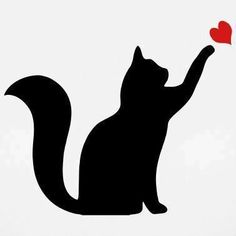 Cat Silhouette playing with heart #CatSilhouette