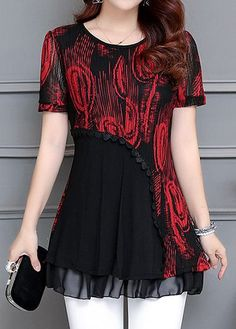 Patchwork Printed Layered Short Sleeve Blouse, new arrival and free shipping worldwide at rosewe.com, check it now.