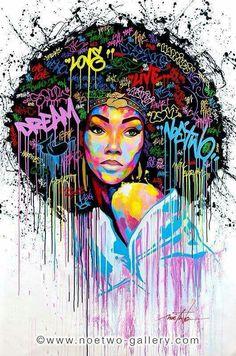 Street art from French artist Noe Two - Dream, graffiti Art Afro Au Naturel, Dope Kunst, Art Amour, Images D'art, Urbane Kunst, Grafiti, Black Artwork, Art And Illustration, Black Girl Art