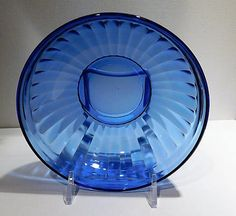 ITEM #RA-133 (Box R-) (1-3)  Cobalt blue depression glass cereal bowl in the Aurora pattern, produced by the Hazel Atlas Co circa late 1930s. Listing is for one bowl, but I have three available for purchase so you can add your quantity to your cart at check out.  Bowl is 5 3/8 in diameter.  Condition: All three are in very good vintage/antique condition with typical wear due to age and handling. **** I have purchased an estate full of glassware, I have more of this pattern as well a...