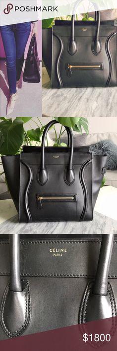 Authentic CELINE mini luggage handbag Mini luggage handbag in black natural  calfskin Normal wear 05698ee477353