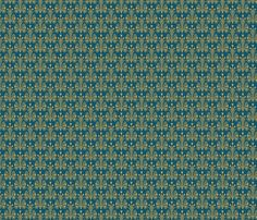 Shop largest marketplace of independent surface designs – Spoonflower; lotus damask - blue/gold by: studiofibonacci