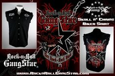 16693bdc50c Rock-n-Roll GangStar Apparel Guys black denim cut off sleeve