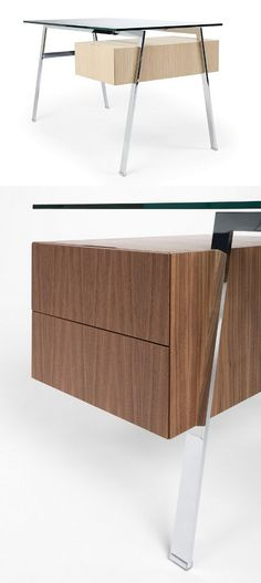 #glass writing #desk with drawers HOMEWORK by BENSEN #wood #office