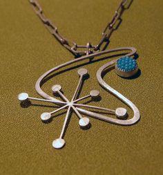 sterling boomerang & starburst mid century inspired necklace. $115.00, via Etsy.
