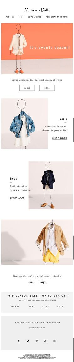 #newlsetter Massimo Dutti 04.2016 Boys & Girls Selection | Special Events