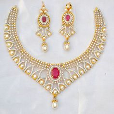 IKJ376 Beautiful Fashion Ethnic Necklace Long Earrings Ruby Pearls CZ Jewelry  #Unbranded