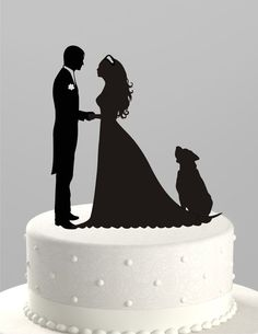Wedding Cake Topper Silhouette Groom and Bride by TrueloveAffair