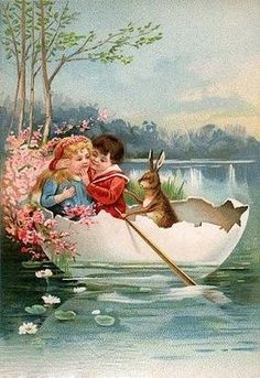 Lovely vintage Easter card for kids. A little boy and girl sailing in a giant egg shell.