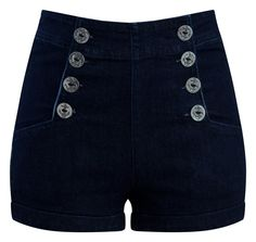 High Waist Sailor Girl Denim Shorts with Anchor Buttons