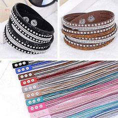 #Fashion new leather wrap wristband cuff punk #crystal rhinestone bracelet #bangl,  View more on the LINK: http://www.zeppy.io/product/gb/2/272018813502/