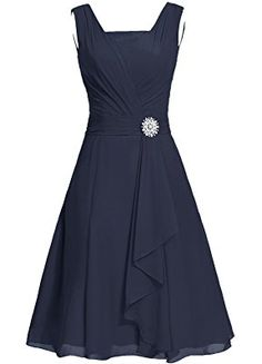 Dresstells Short Bridesmaid Dress Square Chiffon Mother Party Dress with Sash