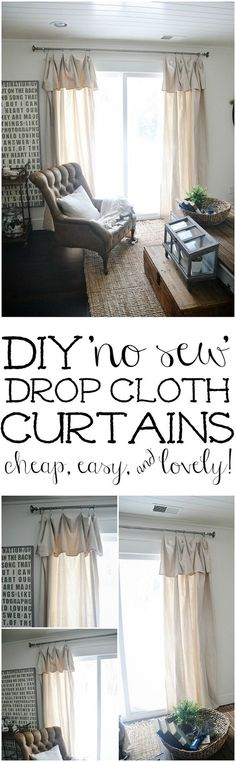 DIY No-Sew Drop Cloth Curtains – The cheapest & easiest DIY ...