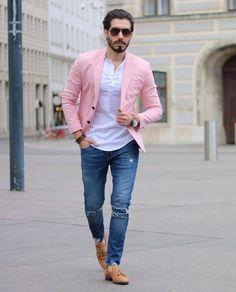 Simple Tips: Urban Fashion Winter Bomber Jackets african american urban fashion beautiful.Urban Wear Streetwear Clothing urban fashion plus size shops. Blazer Outfits Men, Blazer Fashion, Pink Blazer Men, Traje Casual, Formal Men Outfit, Work Outfit Men, Work Outfits, Casual Outfits, Mode Man
