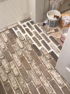 brick flooring DIY Brick Floors Over Tile - Carlas Coastal Creations Cheap Tile Flooring, Cheap Tiles, Diy Flooring, Kitchen Flooring, Bathroom Flooring, Cheap Flooring Ideas Diy, Lego Bathroom, Brick Bathroom, Inexpensive Flooring