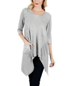 Look at this Aster Gray & White Polka Dot Sidetail Tunic on #zulily today!
