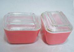 Vintage Pink PYREX Mini Set Lidded Casserole Bowls Clear Glass Ovenware Bakeware Storage 1960s. $20.00, via Etsy.