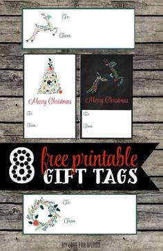 8 free printable Christmas gift tags