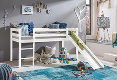 Kinderbett Kinderhochbett Hochbett Bett Rutsche 90x200cm Kiefer Natur O Weiß   eBay