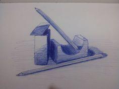 pencils and blocks - blue biro pen
