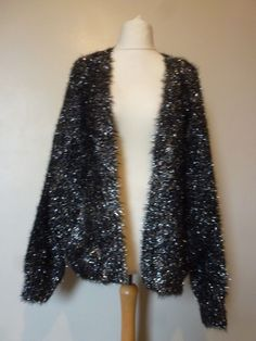 8e80c2cbb99 River Island Metallic Tinsel Knit Cardigan Size 14 16 Uk BNWT RRP 53.99  Black