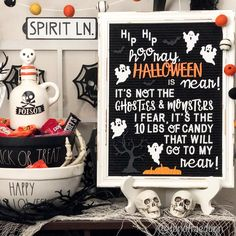 Use a letterboard to add a fun quote to your seasonal decor. Pom Pom garlands also add a cute touch. Halloween Quotes, Funny Halloween, Bar Set Up, Halloween Displays, Pom Pom Garland, Would You Rather, Trick Or Treat, Seasonal Decor, Letter Board