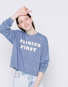 Bluza z napisem - Bluzy sportowe - Odzież - Dla Niej - PULL&BEAR Polska