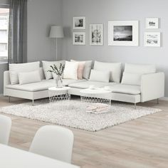 All sections in the SÖDERHAMN sofa series can be used freestanding or put together into exactly the sofa combination you want and need ‒ both big and small. You can sit in comfort with a slight… Söderhamn Sofa, Ikea Sectional, Ikea Couch, Ikea Living Room, White Living Room Furniture, Minimalist Living Room Furniture, Corner Sofa Living Room, Living Rooms, Modern Minimalist Living Room