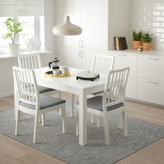 EKEDALEN / EKEDALEN Table and 4 chairs, white, Orrsta light gray. Every table is unique, with varying grain pattern and natural color shifts that are part of the charm of wood. One person can quickly and smoothly extend the table before the guests arrive. Large Table, Small Tables, Chaise Ikea, Table Extensible, Rustic White, White White, White Light, Under The Table, Painted Chairs