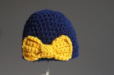 U of M fan hat? Girls Crocheted hat in Navy with Yellow bow by TheTipsyTurtle, $17.00