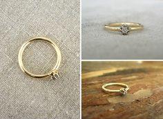 Modern gold ring with diamond, engagement ring /złoty pierścionek z brylantem, pierścionek zaręczynowy, nowoczesny yuvel.pl