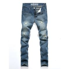 Men Spring Fall Light Blue Demin Pants Ripped Jeans Middle-rise Trousers at Banggood