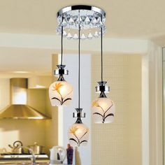 Fashion Pastoral Crystal Dining Room Pendent Lamp Bar Pendent Lamp Living Room Pendent Lamp -3