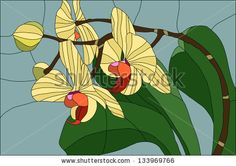 Phalaenopsis orchid / Stained glass window