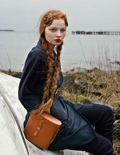 Katerina Martinovska red hair ginger long braids outdoors lake