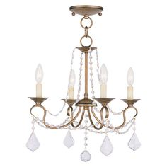 Cast a warm glow in your dining room or master suite with this candelabra-inspired chandelier, showcasing draped beading and a lustrous metallic finish.