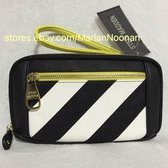 NEW Steve Madden Large Zip Around Wallet Wristlet Black White Stripes Chartreuse Strap | eBay  #stevemadden #stripedwallet #wallets #wristlets #fashion