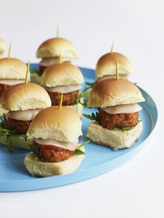 Meatball Sliders, great for appetizers. Use with strip of bacon and slice of cheddar cheese.