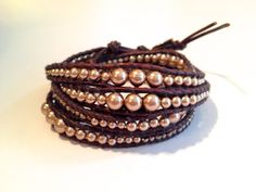 Chan Luu pink Swarovski pearls and silver nuggets wrap bracelet