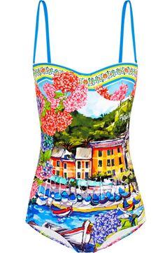 Through Net-a-porter Dolce & Gabbana offers a peak into Portofino : Luxurylaunches Bandeau One Piece Swimsuit, Blue Swimsuit, Blue Bikini, Bikini Swimsuit, Bikini Beach, Bandeau Bikini, Dolce Gabbana, Swimsuits, Swimwear