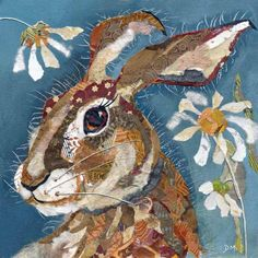 Hare and Daisys - Artist Dawn Maciocia Torn Paper Collage Collages, Collage Artists, Lapin Art, Woodland Art, Animal Quilts, Rabbit Art, Bunny Art, Art Graphique, Painted Paper