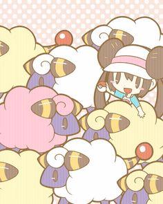 Mei and a herd of Mareep Mega Pokemon, Pokemon Gif, Black Pokemon, Nintendo Pokemon, Pokemon Images, Pokemon Fan Art, Pokemon Pictures, Cute Pokemon, Random Pokemon