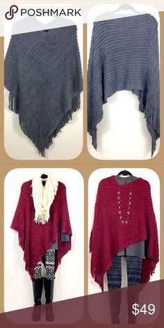 Sale! Grey Solid Knit Fringe Poncho 🍂🍁BOUTIQUE🍁🍂 ✅Not thin. So warm and cozy!  ✅One size fits all ✅I stock other items (like tunics, scarves, and leggings) that complement each other --- go take a look!  ✅Price firm, BUT... ✅Want 15% off AND a free gift? Bundle 3+ items!  ✅Check out my other warm ponchos! 🍁🍂💥Happy Poshing!💥🍂🍁 Sweaters Shrugs & Ponchos