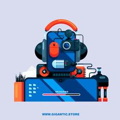 Hey, I created the Robot Character Design from the gadgets and equipment that I am using for my creation. I hope that you like flat design character illustration ;)
