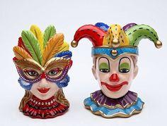 Mardi Gras Jester and Mask Girl Ceramic Salt and Pepper Shaker|Carnival Theme Salt & Pepper Set