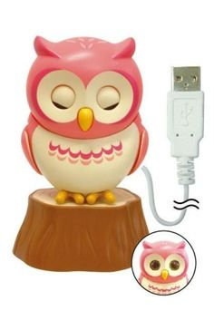 Cute USB Powered Owl that has realistic movements - Eye blinking and head turning motions - Three moods: Active, Mellow or Sleeping - Comes with clip so you can put it on your monitor or laptop and small stump - Owl Stands 3″ high when perching on his stump